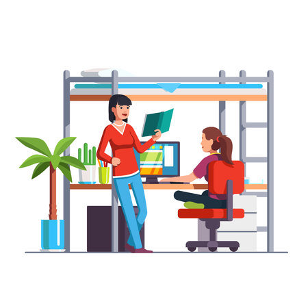 Two student friends studying, reading book, doing homework together at home bedroom. Teen girl sitting at desk bunk bed and surfing internet. Dormitory room. Flat style vector illustration isolated. Ilustração
