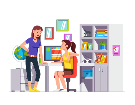 Two high school student friends talking, doing homework together at kids room. Teen girl sitting at desk. Home office with table, bookcase, chair, desktop pc. Flat style vector isolated illustration.