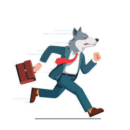 Business man with wolf head running with briefcase