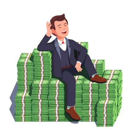 Business man sitting on big heap of stacked money