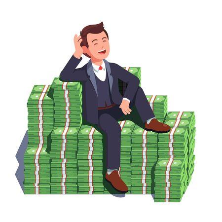 Geschäftsmann, der auf einem großen Haufen gestapelten Geldes sitzt Vektorgrafik