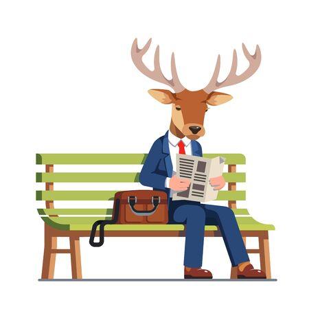 Deer wearing business man suit reading newspaper
