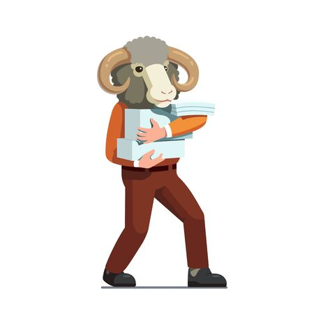 Ram holding huge stack of document papers Illustration
