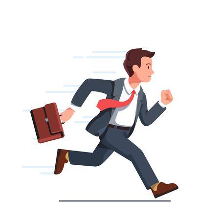 Business man running fast with waving necktie Vetores