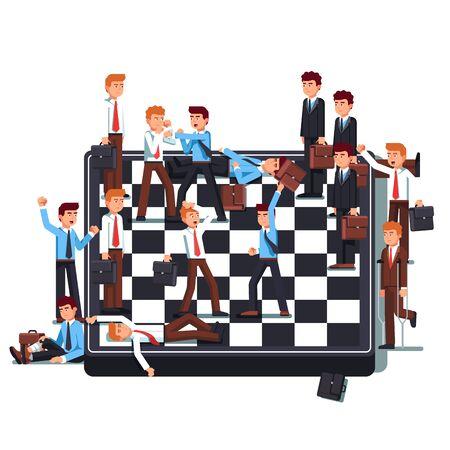 Businessmen teams fighting on giant chessboard. Business metaphor of work conflict between colleagues Çizim