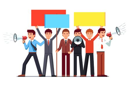 Political agitator business men crowd shouting with loud speakers and holding placards. Protesting people on demonstration. Flat style vector illustration isolated on white background.
