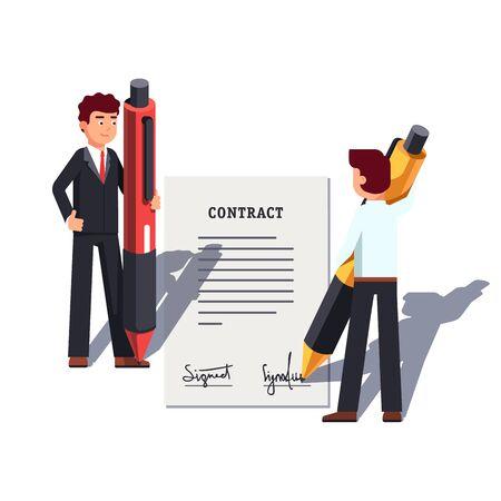 Uomo d'affari che tiene in mano penne giganti, firma un contratto Vettoriali