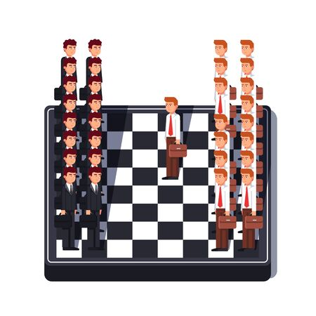 Business man standing in lines on chess board