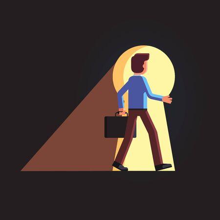 Business man walking through the giant keyhole