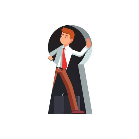 Business man looking out of giant keyhole
