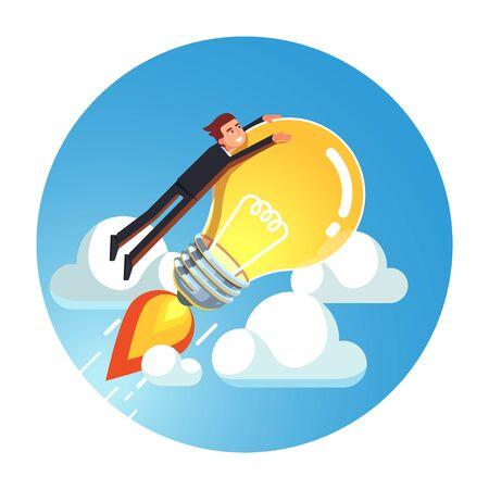 Business man riding rocket lightbulb up into sky Stock Illustratie