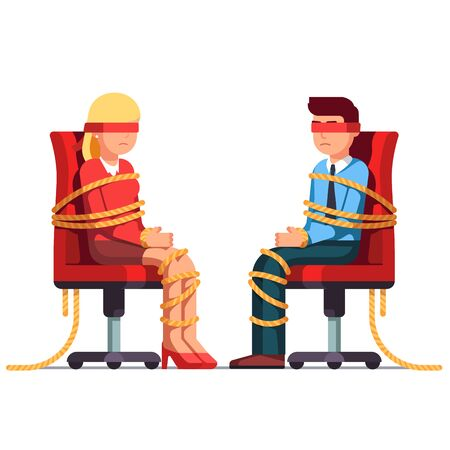 Blindfold business man and woman sitting on chairs