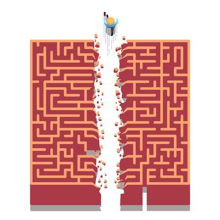 Geschäftsmann, der direkt durch Labyrinthwände läuft und neue Wege bricht. Überwindung von Schwierigkeiten, Suche nach nicht standardmäßigen Lösungen Metapher. Flache dünne Linie Vektorillustration lokalisiert auf weißem Hintergrund