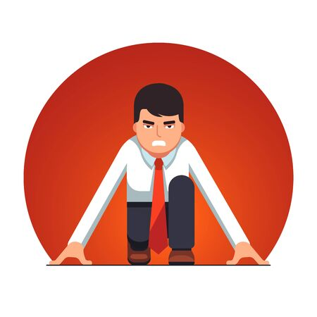 Business man in starting position beginning a race Illustration
