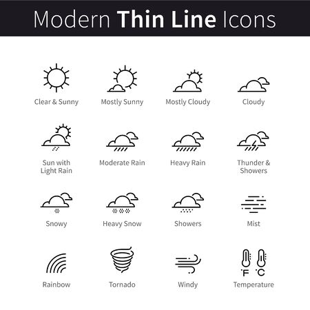 Weather forecast infographic icons with sky and clouds conditions, temperature. Light, moderate and heavy rain showers, snow and wind. Modern thin line art icons. Linear style isolated illustrations