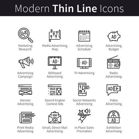 Pubblicità, canali multimediali di promozione, simboli delle icone delle campagne di marketing
