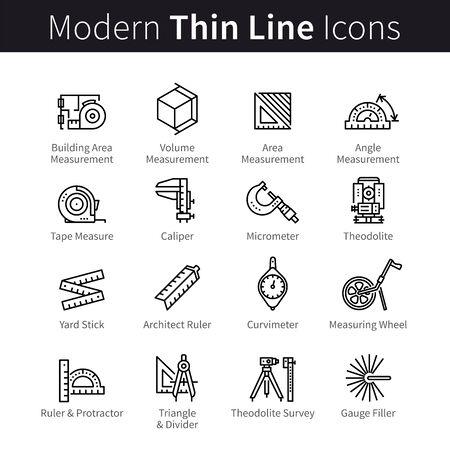 Measuring instrument for engineer, architect, builder, designer, constructor icons set