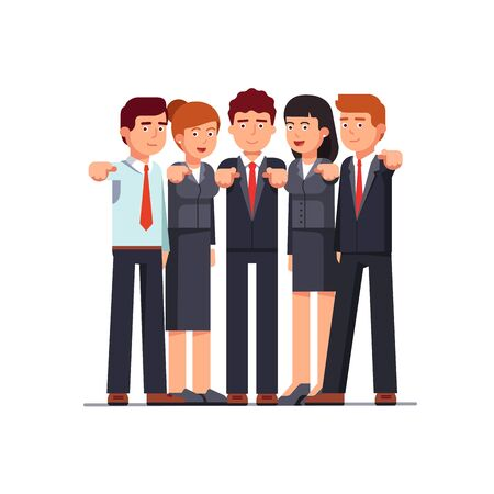 Standing group of business men and women pointing at viewer with index fingers. I want you gesture. Metaphor of hr management. Flat style vector illustration isolated on white background.