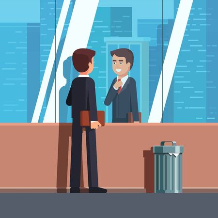 Business man looking at his reflection in window Illustration