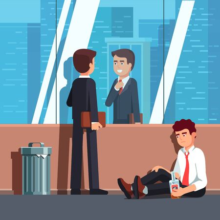 Happy business man and other broke unhappy one  イラスト・ベクター素材