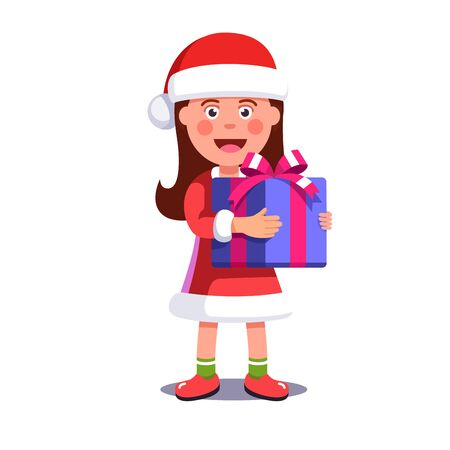 Little girl kid dressed like Santa Claus holding big wrapped gift box decorated with ribbon bow. Merry Christmas greeting card template. Flat style vector illustration isolated on white background.  イラスト・ベクター素材