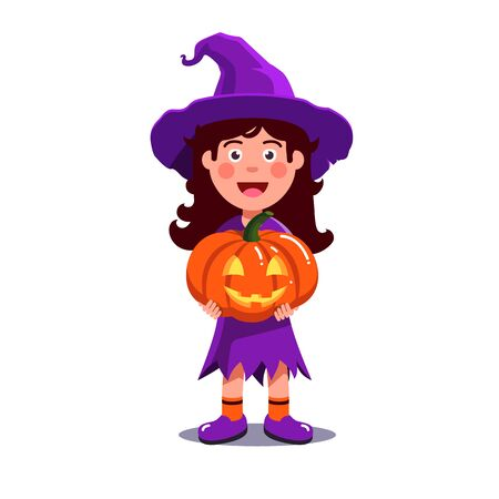 Girl kid in witch costume holding orange pumpkin with carved scary face. Halloween template with cute child sorceress trick-or-treating with jack-o-lantern. Flat style vector illustration isolated.