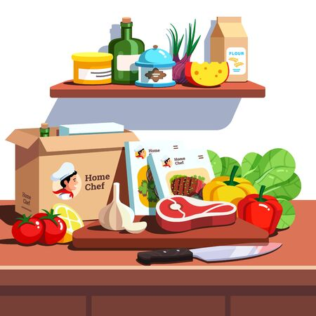 Home chef meal ingredient kit delivery service box Vetores