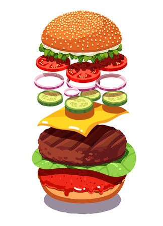 Exploded view classic American cheese burger with grilled meat cutlet, cheddar, tomatoes, pickles, onion rings, salad, ketchup sauce. Homemade hamburger. Flat vector illustration isolated on white.