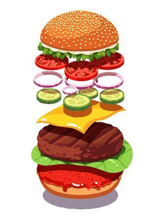 Vista en despiece de la clásica hamburguesa de queso americano con chuleta de carne a la parrilla, queso cheddar, tomates, encurtidos, aros de cebolla, ensalada, salsa de tomate. Hamburguesa casera. Ilustración de vector plano aislado en blanco.