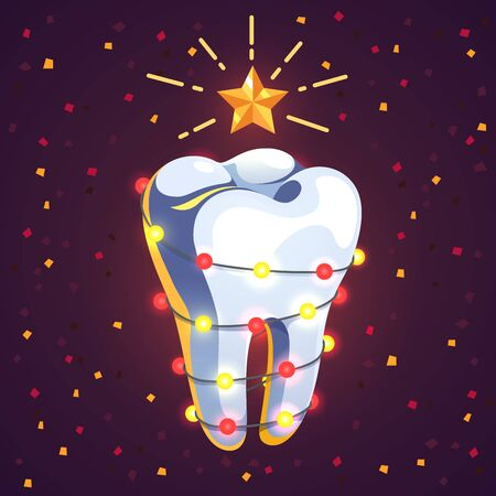 New Year themed tooth decorated with garland Ilustração