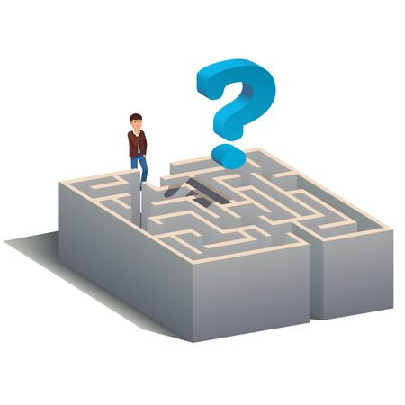Puzzled man standing at maze entrance and thinking