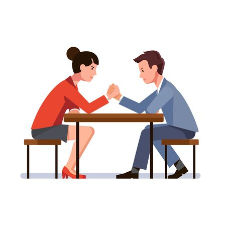 Business man and woman sitting and arm wrestling Иллюстрация