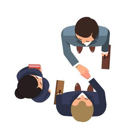 Top view of business partners men shaking hands