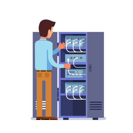 Sysadmin man working with server rack switchboard Ilustração