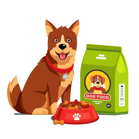 Dog sitting next to dry food bowl and bag package