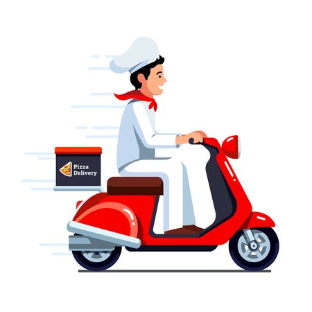 Delivery man delivering pizza on scooter motor