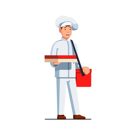 Delivery man in chef cook uniform and hat with shoulder bag on belt holding pizza delivery box in right hand. Flat style vector illustration isolated on white background.