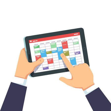 Closeup view of business man scheduling tasks and working on tablet computer in calendar application. Manager person hands using week planning app. Flat vector illustration isolated on white