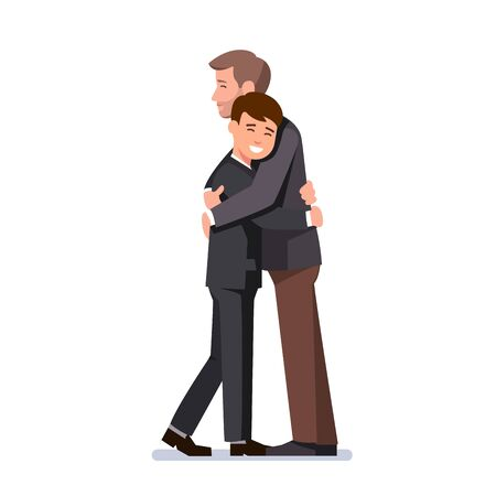 Two hugging business men. or father and child Иллюстрация