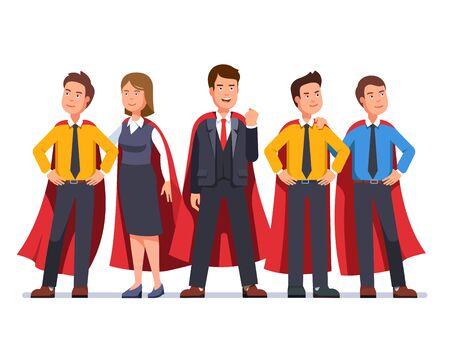 Business man and woman dream team in red capes Ilustración de vector