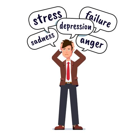 Depressed, stressed business man holding head with both hands. Stress, depression, failure, anger and sadness thoughts in speech bubbles over business person head. Flat character vector illustration