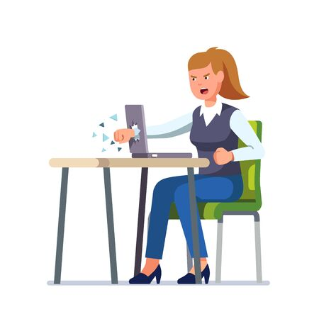 Angry business woman breaks her laptop computer hitting it with a clenched fist sitting at desk. Frustrated woman punching hole in pc screen shattering it to pieces. Flat vector character illustration  イラスト・ベクター素材