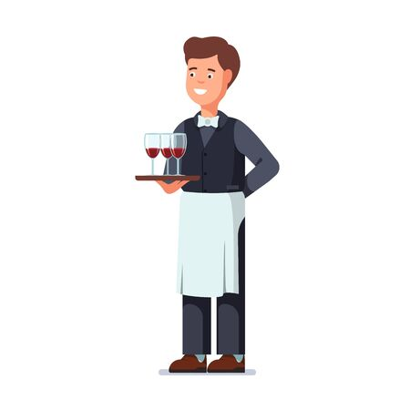 Restaurant waiter wearing apron and holding tray