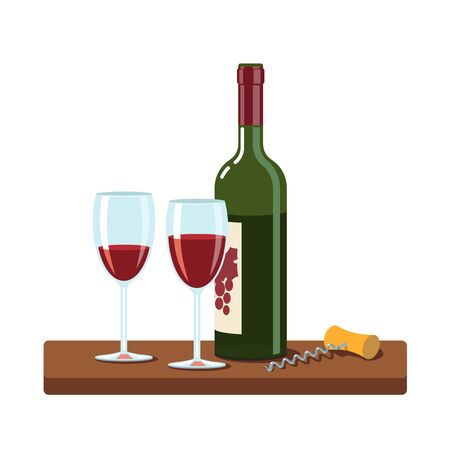Opened red wine bottle, wine glasses and corkscrew