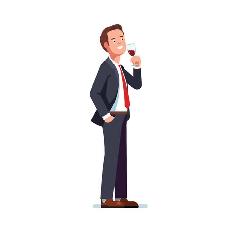 Man in business suit drinking red wine in a glass Illustration