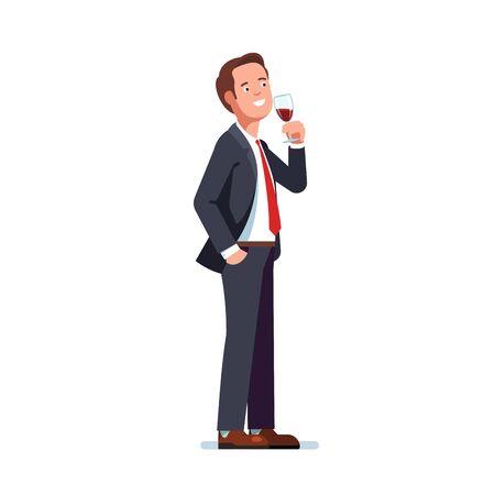 Uomo in giacca e cravatta che beve vino rosso in un bicchiere