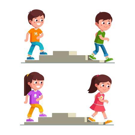 Niños y niñas sonrientes subiendo y bajando escaleras