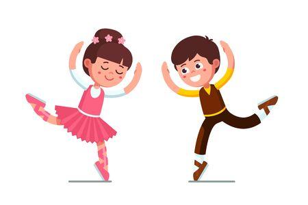 Ballet dancer kids boy and ballerina girl dancing 向量圖像