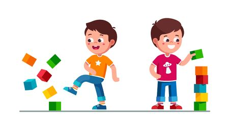 Kids boys playing with toy cube blocks tower Vetores