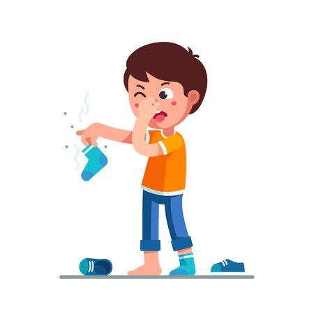 Niño de pie sosteniendo un calcetín que huele sucio en la mano Ilustración de vector